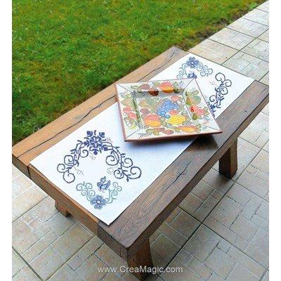 Kit chemin de table fresques en bleu à broder au point de croix compte Luc Création