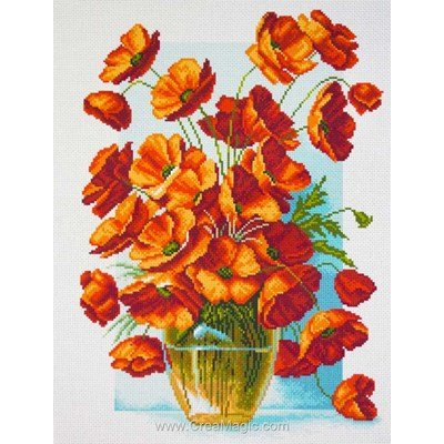Broderie aida imprimée vase with poppies - coquelicots - Collection d'art