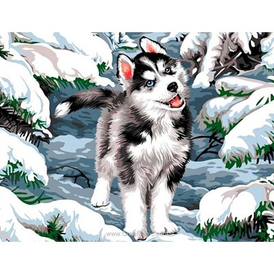 Broderie diamant Diamond Painting little husky