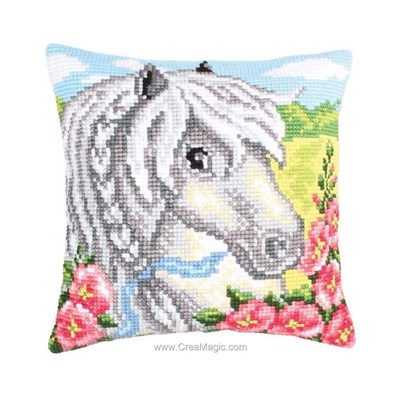Coussin Collection d'art poney blanc au point de croix