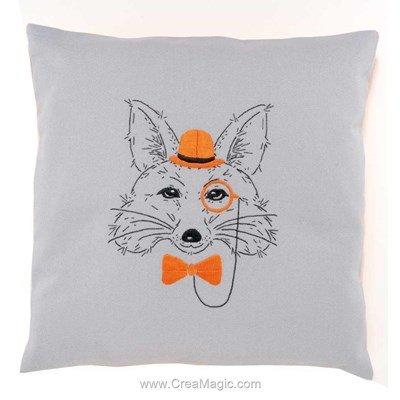 Kit coussin à broder en broderie traditionnelle renard aux lunettes oranges - Vervaco