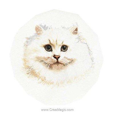 Broderie de Thea Gouverneur au point de croix white persian cat sur lin