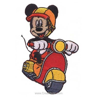 Ecusson brodé thermocollant mickey et son scooter de MLWD