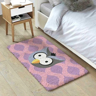 Kit tapis point noue hibou mosaique de Smyrnalaine