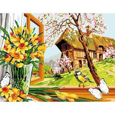 Canevas le printemps à la fenêtre - Mimo Verde