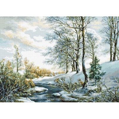 Broderie au point compté rayon de printemps sur la rivière gelée de Luca-S