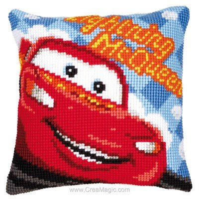 Coussin point de croix Vervaco disney cars - mcqueen