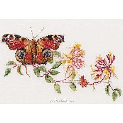 Tableau broderie point de croix butterfly-honeysuckle sur lin de Thea Gouverneur