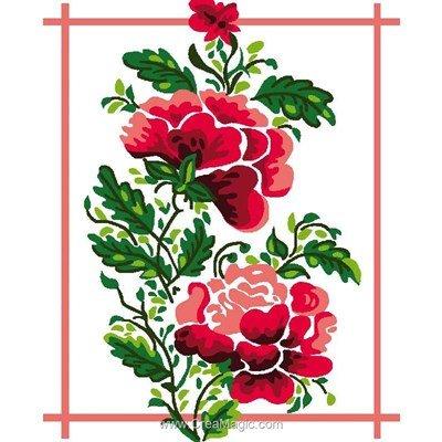 Kit canevas Luc Création pour débutant fleur rouge