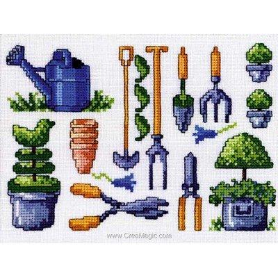 Jardinage outils kit broderie de Permin au point de croix