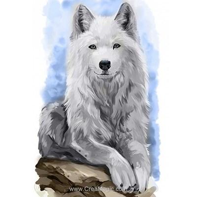 Kit broderie diamant loup blanc sur le rocher de Wizardi