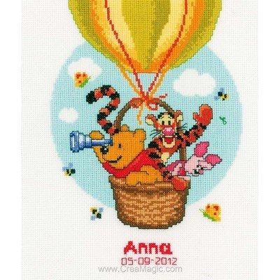 Vervaco broderie point de croix tableau de naissance winnie et ses amis en montgolfière