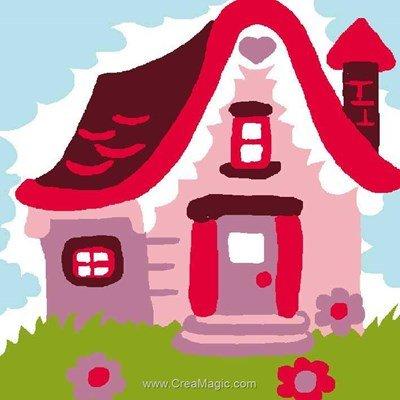 Kit canevas Luc Création pour enfant maison rouge