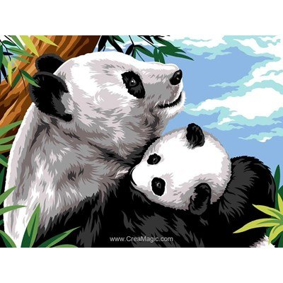 Cajoler son bébé panda canevas - Margot