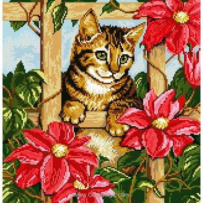 Kit broderie diamant chaton à la barrière fleurie de Diamond Painting