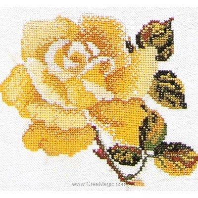 Rose yellow sur aida modèle broderie point de croix - Thea Gouverneur