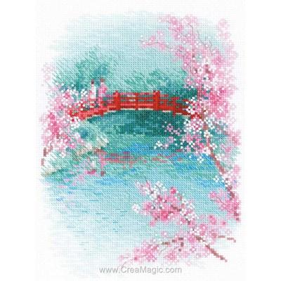 Broderie en point compté RIOLIS sakura pont
