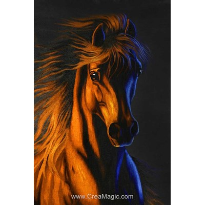 Kit broderie diamant Diamond Painting fire horse