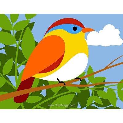 Kit canevas a broder pour enfants oiseau coloré sur la branche de Margot