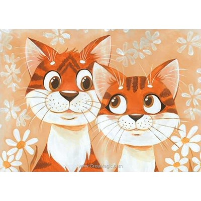 Broderie diamant cats in love de Wizardi