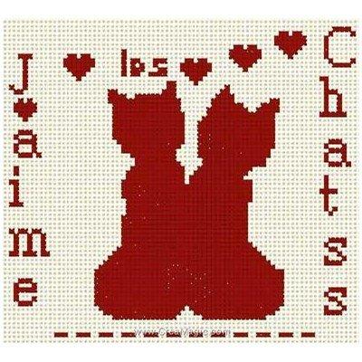 J'aime les chats fiche de point de croix d'Anagram
