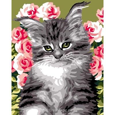 Kit canevas avec fils chat opaline et les roses - Luc Création