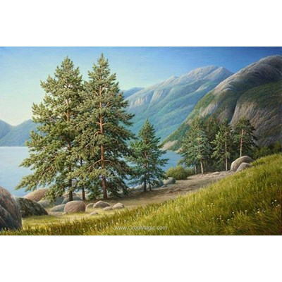 Kit broderie diamant Diamond Painting pines near the lake