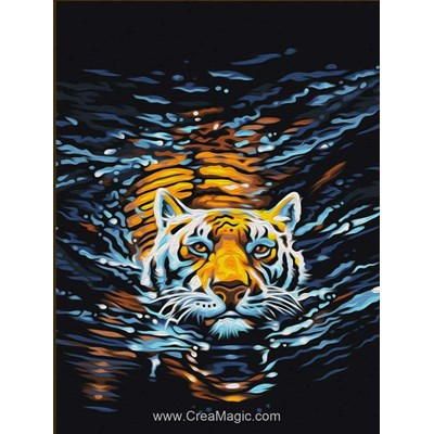 Kit broderie diamant swimming tiger de Diamond Painting