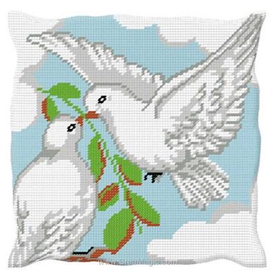 Coussin Luc Création au demi point les colombes