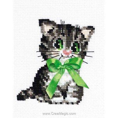 Mini broderie RIOLIS chaton au ruban vert