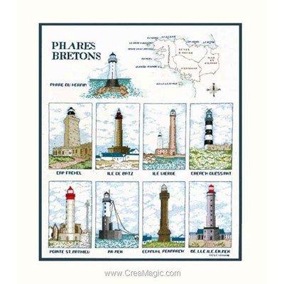 Tableau broderie point de croix les phares bretons sur aida de Le Bonheur Des Dames