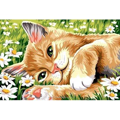 SEG canevas chat couché dans l'herbe