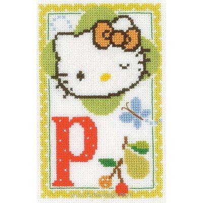 Broderie modele point de croix Vervaco hello kitty lettre p