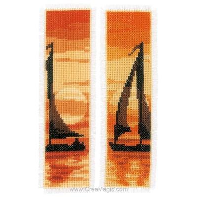 Marque-pages coucher du soleil - lot de 2 à broder Vervaco