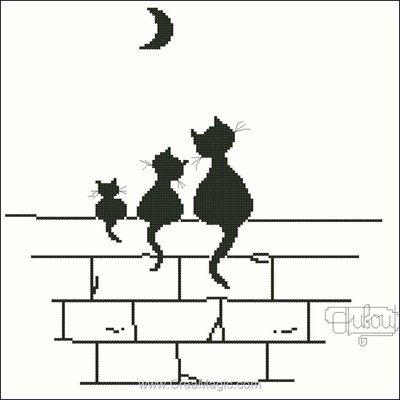 Trois chats et lune fiche au point de croix de Points De Repère
