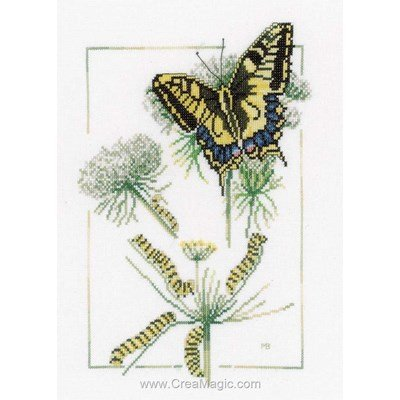 Tableau point de croix Lanarte from caterpillar to butterfly - aida