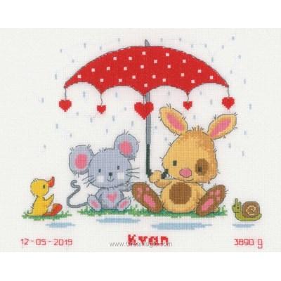 Broderies pour bébé Vervaco amis sous la pluie
