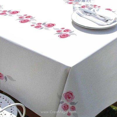 Serviette de table imprimée en broderie traditionnelle bulles de roses - Margot Broderie