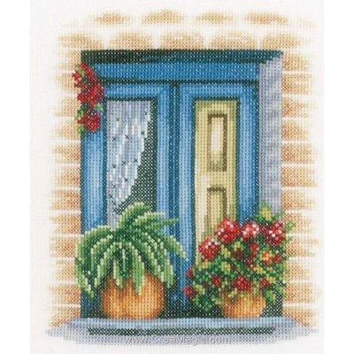 Broderie point de croix fenêtre aux plantes fleuries - Lanarte