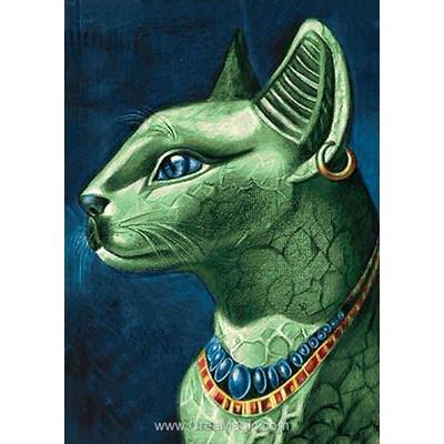 Broderie diamant chat émeraude - egypte de Wizardi