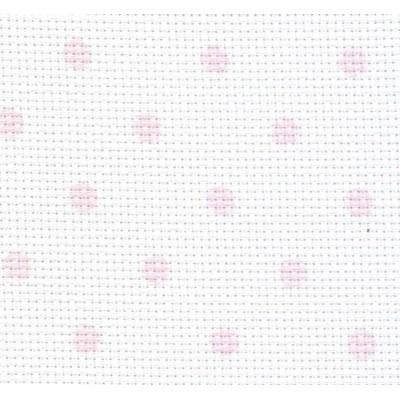 Toile aida 5,5 petit pois rose imprimée - DMC à broder