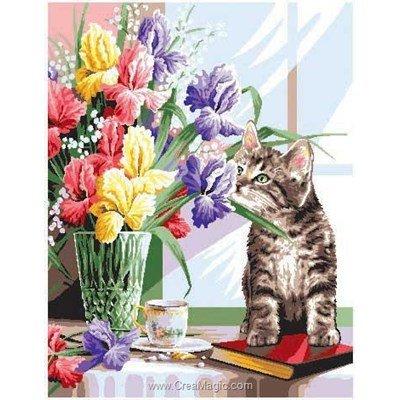Luc Création canevas les iris et le chat
