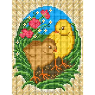 Kit broderie diamant easter chickens - Diamond Painting