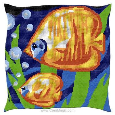 Kit coussin bulles de poissons tropicaux au demi point de Luc Création
