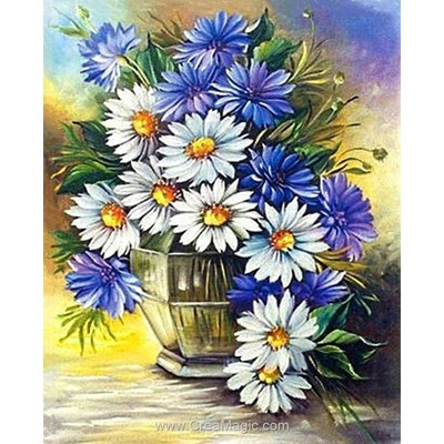 Kit broderie diamant Diamond Painting daisies and cornflowers
