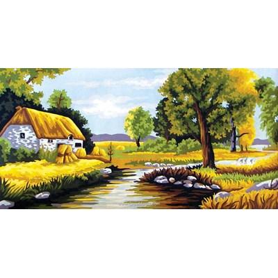 Canevas Collection d'art la maison du bord de la rivière