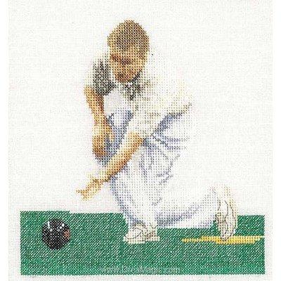 Broderie modele point de croix Thea Gouverneur bowling sur lin