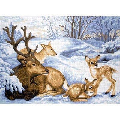 Broderie imprimée famille de cerfs en neige sur aida de Collection d'art