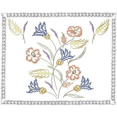 Kit napperon fleurs champêtre en broderie traditionnelle - Luc Création