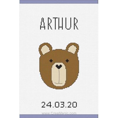 Kit protège carnet de santé bébé drôle de petit ours à broder de Princesse